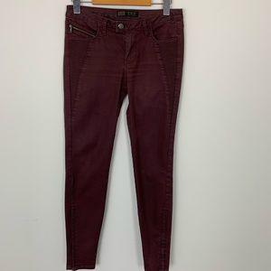 Zara Denim Skinny Burgundy Jeans Size 2